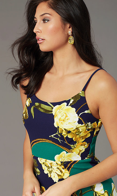 Image of semi-formal short print sheath party dress. Style: SS-D77542DB16 Detail Image 1
