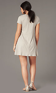 Image of casual short shift party dress in light taupe. Style: SS-JA35542F100 Back Image