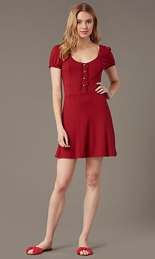 Short Chianti Red Ribbed-Knit Casual Party Dress