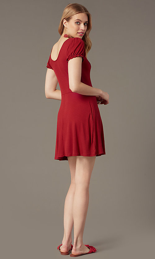 Image of short Chianti red ribbed-knit casual party dress. Style: SS-JA35641F100 Back Image