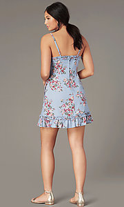Image of chambray/pink short floral-print casual dress. Style: SS-JB00941W282 Detail Image 3