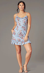Image of chambray/pink short floral-print casual dress. Style: SS-JB00941W282 Detail Image 2