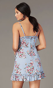 Image of chambray/pink short floral-print casual dress. Style: SS-JB00941W282 Back Image