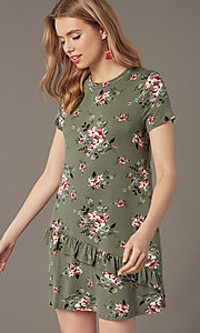 Image of short shift floral-print casual party dress. Style: SS-JA35951F174 Front Image