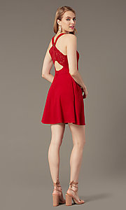 Image of short cherry red party dress with pockets. Style: SS-D74484GKW Back Image
