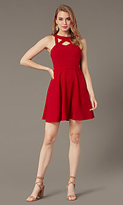 Image of short cherry red party dress with pockets. Style: SS-D74484GKW Detail Image 1