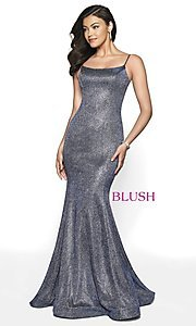 Image of long shimmer designer prom dress by Blush. Style: BL-11739 Detail Image 3