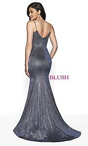 Image of long shimmer designer prom dress by Blush. Style: BL-11739 Detail Image 4