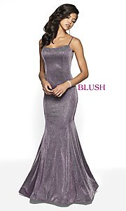 Image of long shimmer designer prom dress by Blush. Style: BL-11739 Detail Image 2