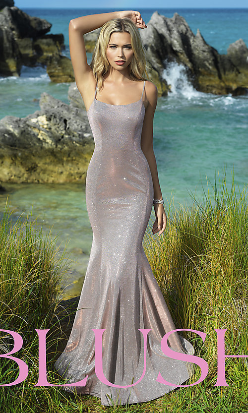 Image of long shimmer designer prom dress by Blush. Style: BL-11739 Front Image
