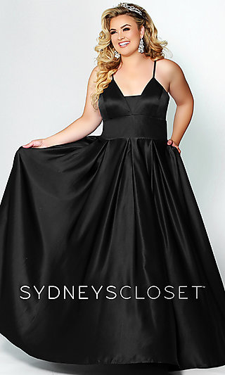 Long Satin Plus Prom Dress with Pockets