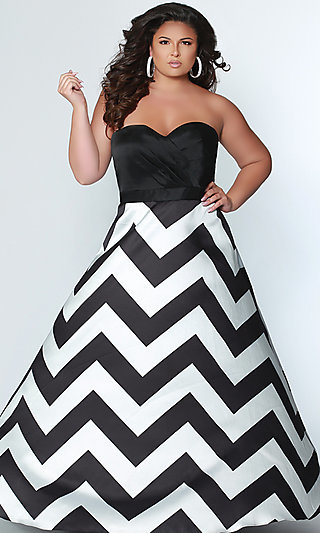 Long Plus Striped A-Line Prom Dress