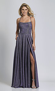 Image of long square-neck glitter-knit prom dress. Style: DJ-A6933 Detail Image 5