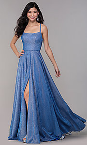 Image of long square-neck glitter-knit prom dress. Style: DJ-A6933 Front Image