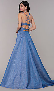 Image of long square-neck glitter-knit prom dress. Style: DJ-A6933 Back Image