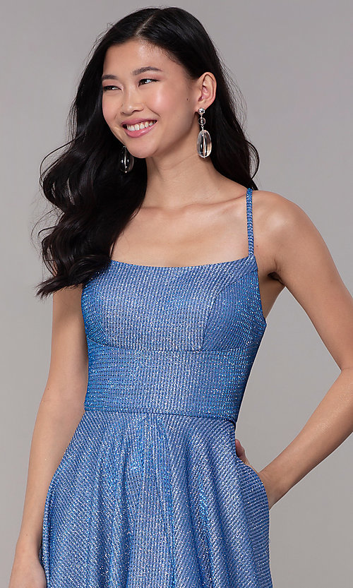 Image of long square-neck glitter-knit prom dress. Style: DJ-A6933 Detail Image 1