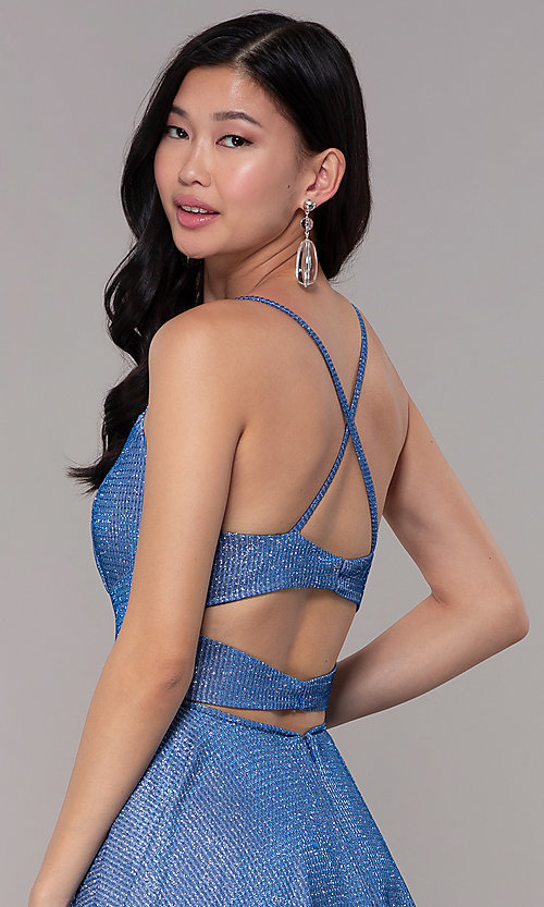 Image of long square-neck glitter-knit prom dress. Style: DJ-A6933 Detail Image 2