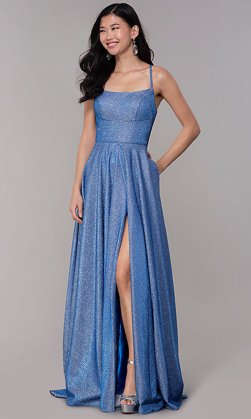 Image of long square-neck glitter-knit prom dress. Style: DJ-A6933 Detail Image 3