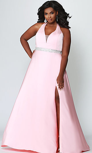A-Line Halter Empire-Waist Plus Prom Dress