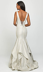 Image of long sparkly trumpet prom dress by Madison James. Style: NM-19-132 Back Image