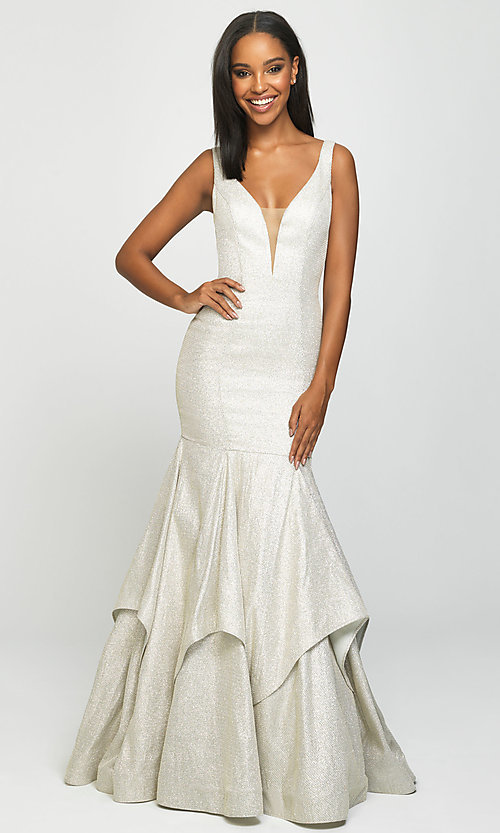 Image of long sparkly trumpet prom dress by Madison James. Style: NM-19-132 Front Image
