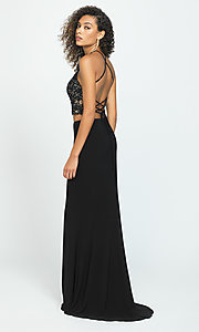 Image of two-piece Madison James backless long prom dress. Style: NM-19-189 Back Image