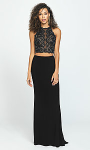 Image of two-piece Madison James backless long prom dress. Style: NM-19-189 Detail Image 1