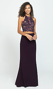 Image of two-piece Madison James backless long prom dress. Style: NM-19-189 Front Image