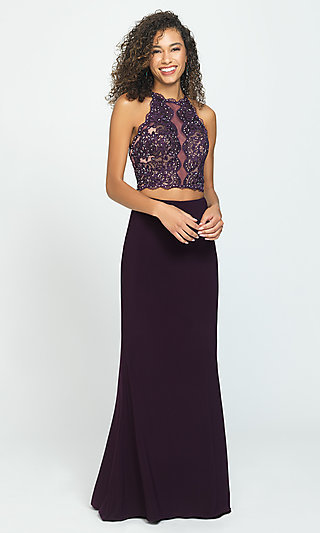 Two-Piece Madison James Backless Long Prom Dress