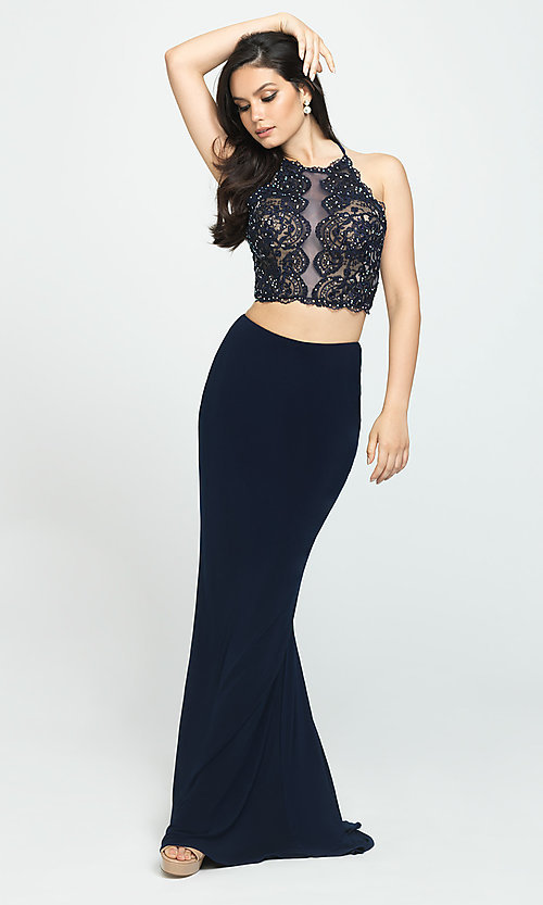 Image of two-piece Madison James backless long prom dress. Style: NM-19-189 Detail Image 2