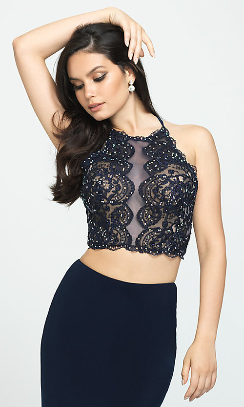 Image of two-piece Madison James backless long prom dress. Style: NM-19-189 Detail Image 3