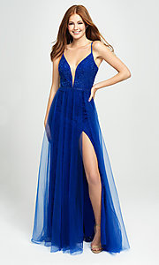 Image of sparkly long formal prom dress by Madison James. Style: NM-19-195 Front Image