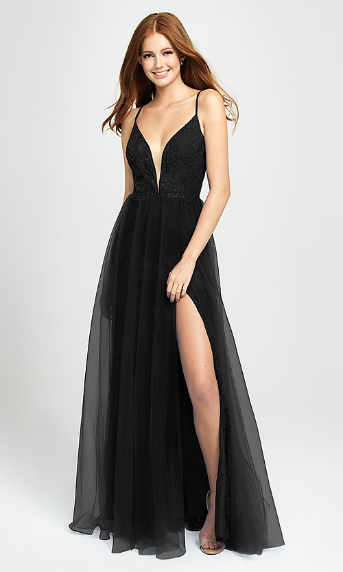 Image of sparkly long formal prom dress by Madison James. Style: NM-19-195 Detail Image 1