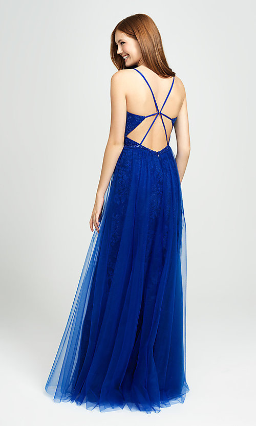 Image of sparkly long formal prom dress by Madison James. Style: NM-19-195 Back Image