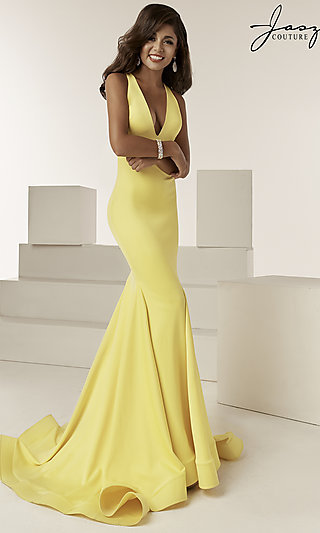 Trumpet-Skirt V-Neck Designer Prom Dress by Jasz