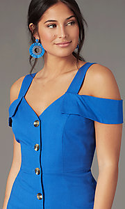 Image of short cold-shoulder casual party dress in blue. Style: EM-HGW-4038-420 Detail Image 1