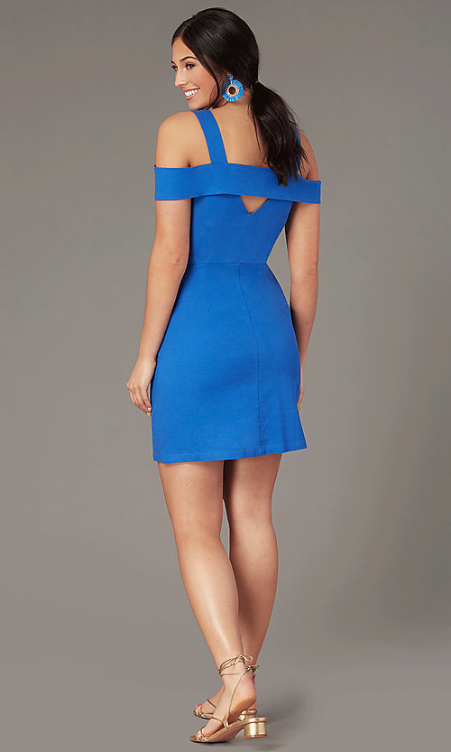Image of short cold-shoulder casual party dress in blue. Style: EM-HGW-4038-420 Back Image
