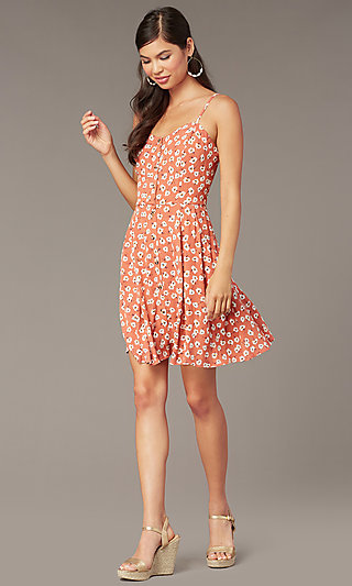 Short Casual Floral Print Party Dress