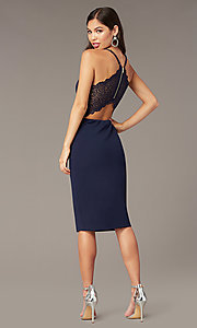 Image of knee-length wedding-guest dress in navy blue. Style: EM-HIY-3405-430 Back Image