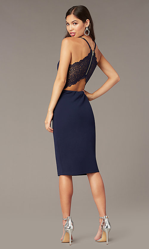 Knee Length Wedding Guest Dress In Navy Blue