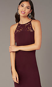 Image of short tight plum purple party dress with lace back. Style: EM-HIR-3546-521 Detail Image 1