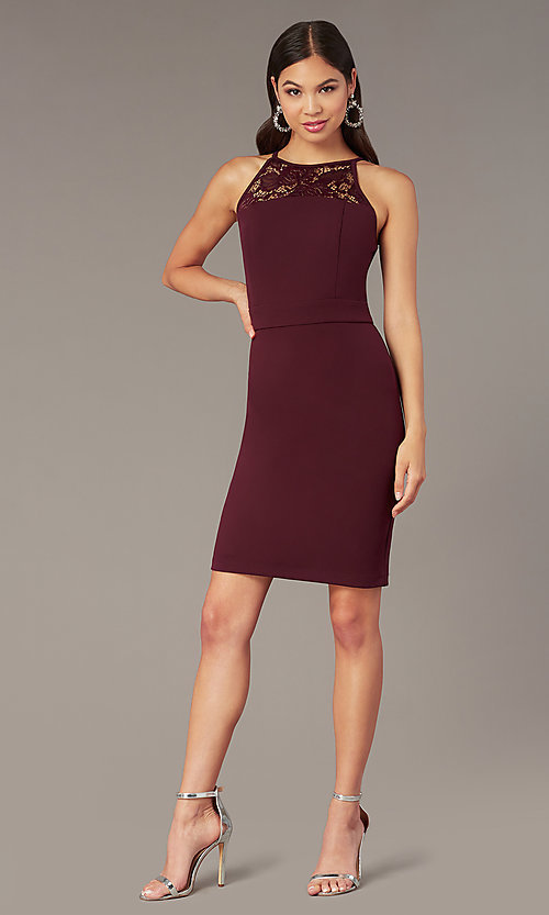 Image of short tight plum purple party dress with lace back. Style: EM-HIR-3546-521 Front Image