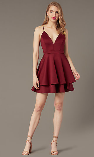 Short Lace-Back Party Dress with Tiered Skirt