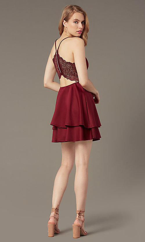 Image of short lace-back party dress with tiered skirt. Style: EM-FQP-1003-560 Back Image