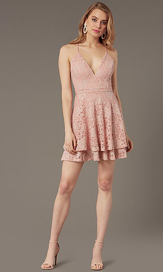 Short Glitter-Lace Party Dress with Tiered Skirt