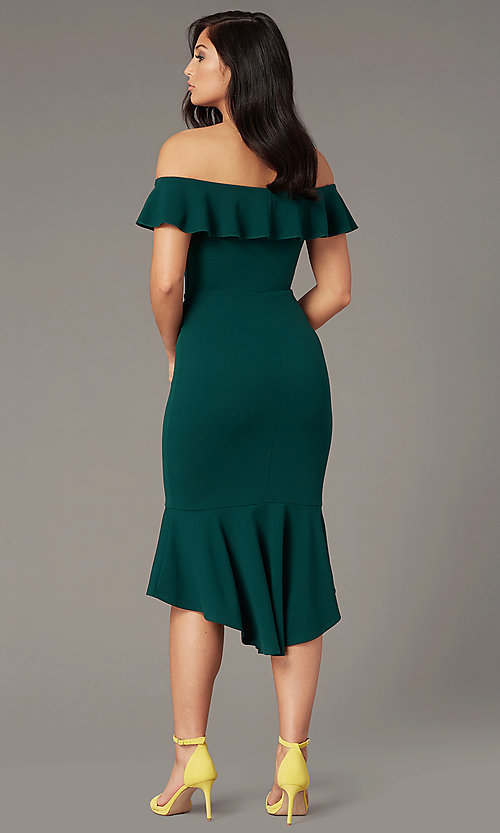 Image of knee-length wedding-guest dress in emerald green. Style: EM-FZL-3405-330 Back Image
