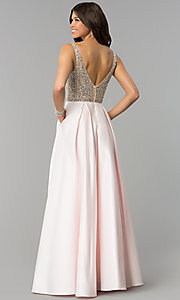 Image of long sleeveless rhinestone-bodice prom dress. Style: PO-8182n Back Image