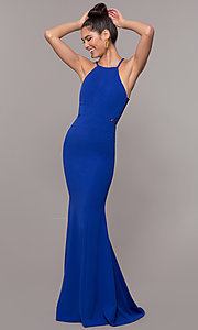 Image of long back-cut-out mermaid prom dress by PromGirl. Style: MCR-3051r Front Image