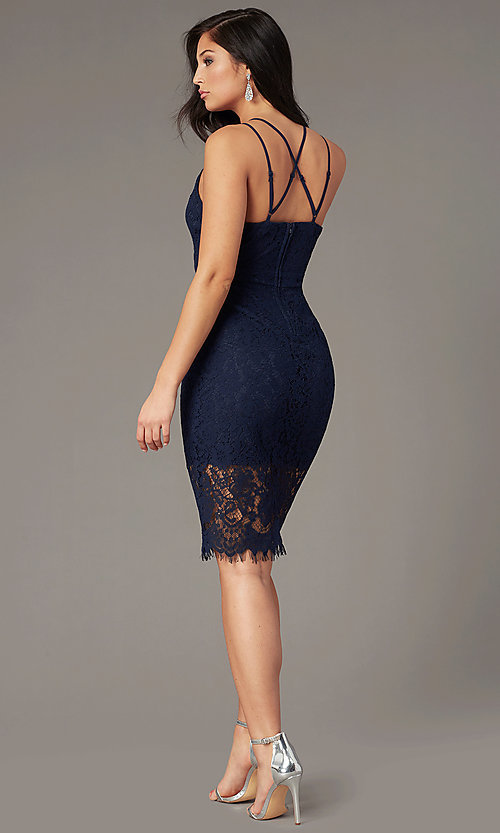 Image of knee-length lace navy blue wedding-guest dress. Style: EM-HJW-4185-430 Back Image