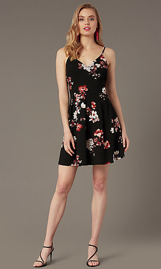 Floral-Print Short Party Dress in Black and Rose